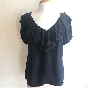 Joie Silk ruffle blouse size Medium, black